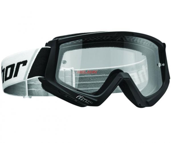 THOR Combat Solid Goggle Motocross MTB MX Enduro Cross Brille, klares Glas, schwarz