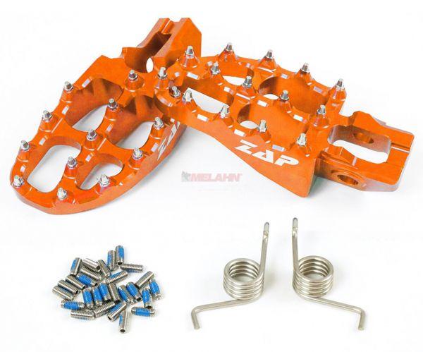 ZAP E-Peg Aluminium-Fußrasten (Paar), KTM SX 16- / EXC 17-, orange
