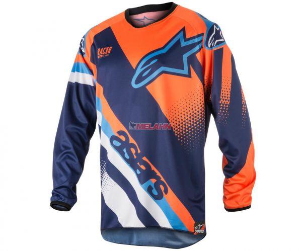 Alpinestars Jersey: Racer Supermatic, dunkelblau/neonorange/aqua