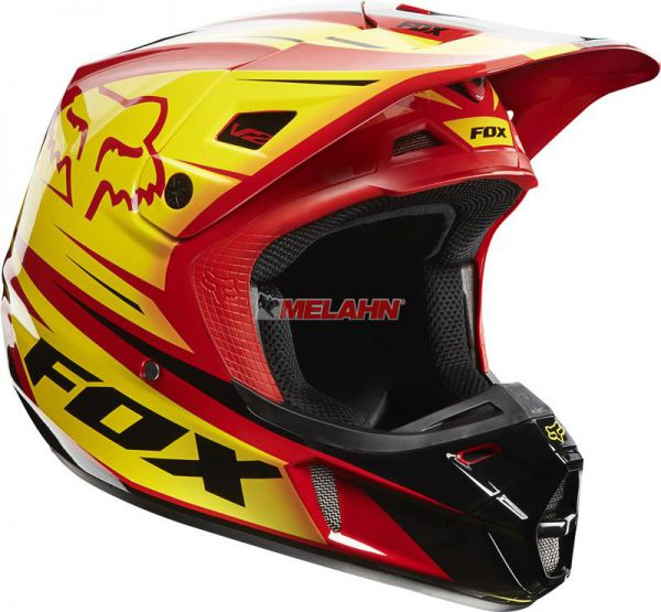 FOX Helm: V2 Race, rot/gelb