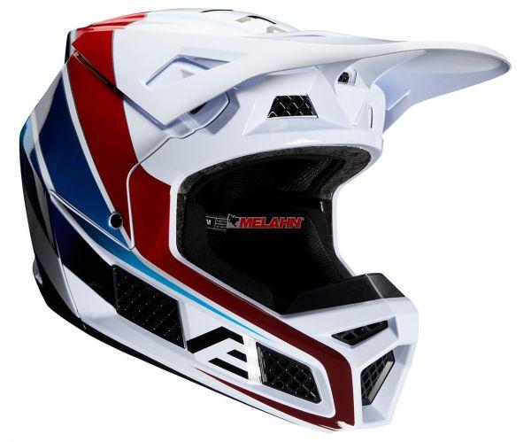 FOX Helm: V3 Durven, weiß/rot/blau