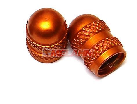 KTM Aluminium-Ventilkappen (Paar) halbrund, orange