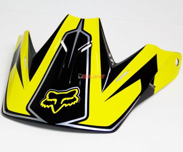 FOX Helmschirm: Visor V3 Carbon, schwarz/gelb/rot
