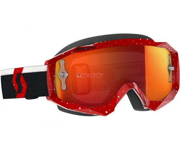 SCOTT Hustle MX Goggle Motocross MTB MX Cross Enduro Brille, rot/weiß, orange verspiegelt