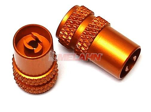 KTM Aluminium-Ventilkappen (Paar) mit Ventilausdreher, orange