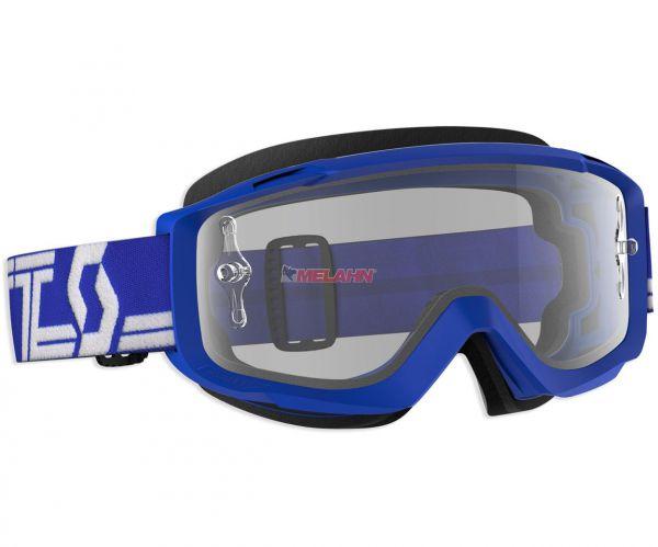 SCOTT Brille: Split OTG für Brillenträger, blau/weiß, klares Glas
