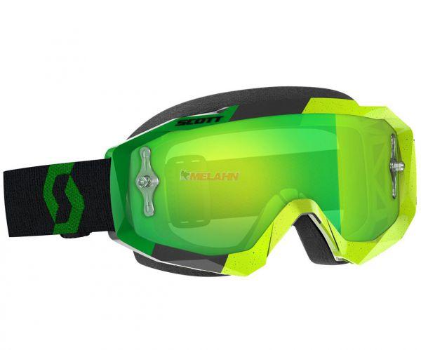SCOTT Hustle MX Goggle Motocross MTB MX Cross Enduro Brille, gelb/grün, grün verspiegelt