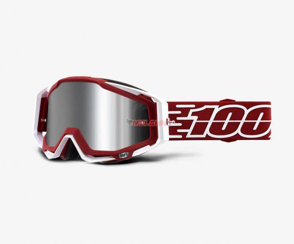 100% Brille: Racecraft Plus Gustavia, rot/weiß silber verspiegelt