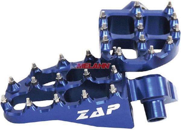 ZAP E-Peg Aluminium-Fußrasten (Paar), KTM, HVA, HUSABERG, YAMAHA, blau