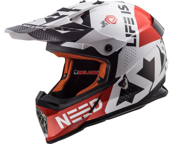 LS2 Helm: Fast MX 437, Block, schwarz/rot/weiß