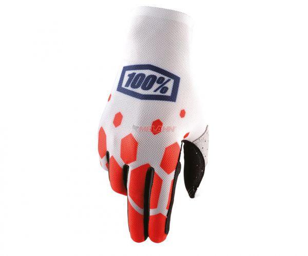 100% Handschuh: Celium, weiß/rot