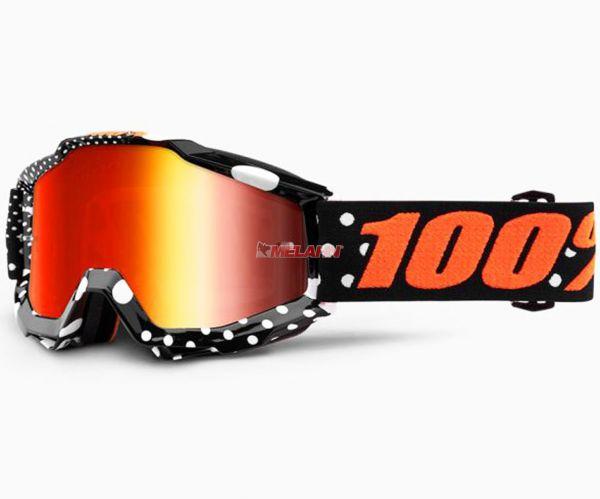 100% Accuri Gaspard Goggle Motocross MTB MX Enduro Cross Brille, verspiegelt, schwarz/orange