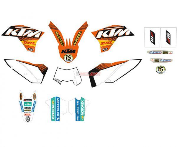 KTM Factory Dekor-Kit, weiße Tafeln, SX 07-10 / EXC 08-11