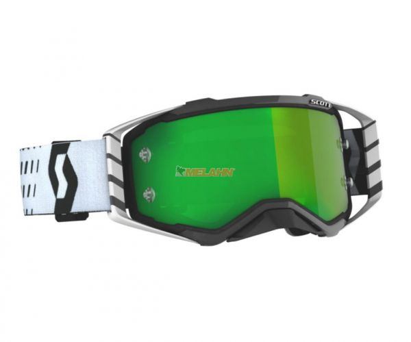 SCOTT Prospect Goggle Motocross MTB MX Enduro Cross Brille schwarz-weiß grün verspiegelt