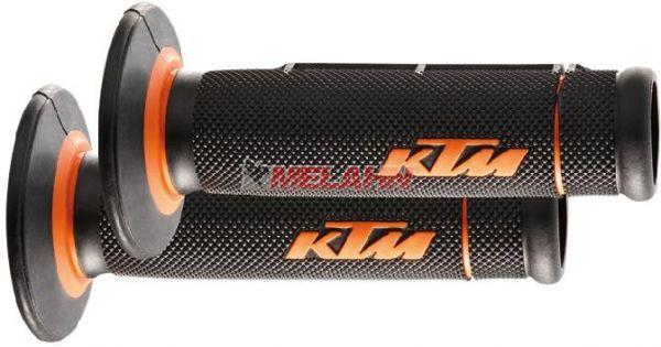 KTM Griff (Paar): 2 Komponenten mit Loch, schwarz/orange