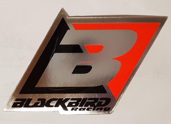 BLACKBIRD Aufkleber: Logo, 6,5x4,5cm, chrom