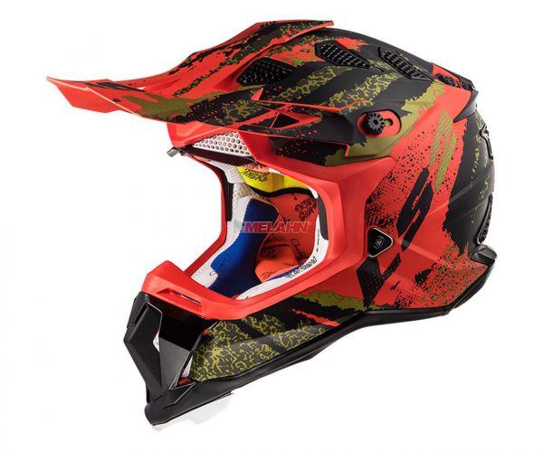 LS2 Helm: Subverter MX 470, Claw, matt schwarz/rot