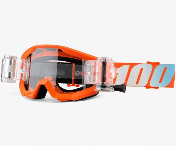 100% Kids Brille: Strata Junior Mud/SVS Roll-Off-System, orange