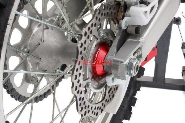 ZETA Aluminium Radbuchsen: FastSpacer (Paar), für Radlager hinten KX/KXF, rot