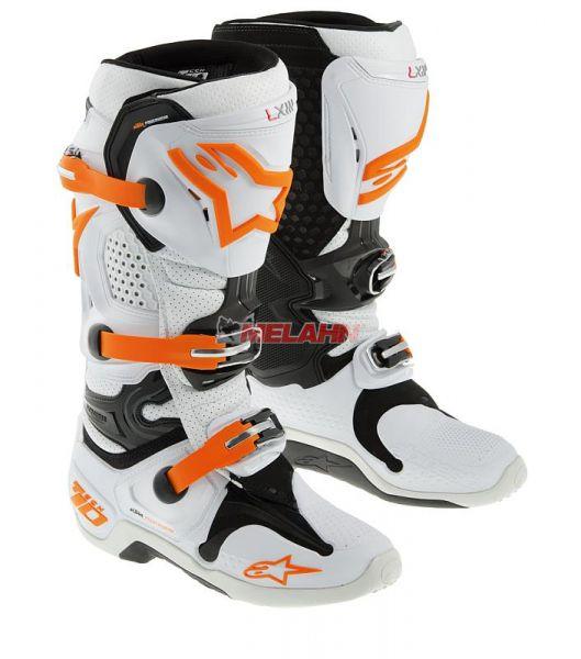 ALPINESTARS Stiefel: KTM Tech 10, weiß/orange/sw (nur noch Gr. 45,5)