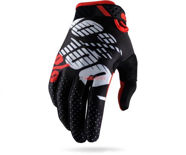 100% Handschuh: Ridefit, schwarz/rot/weiß