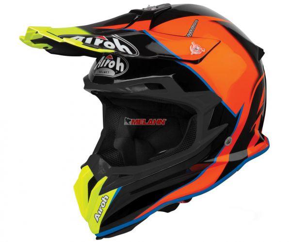 AIROH Helm: Terminator Slider Azure Gloss, orange/schwarz/neongelb