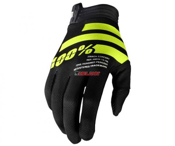 100% Handschuh: I-Track, schwarz/gelb