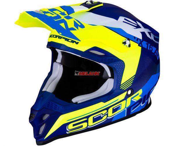SCORPION Helm: VX-16 Air Arhus, blau matt/neon gelb