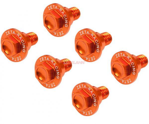 ZETA Aluminium-Schrauben für Gabelschützer (6 Stück) KTM 65/85/125-530 SX/EXC 00- / Freeride, orange