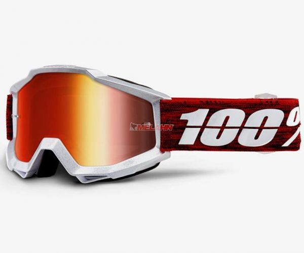 100% Accuri Graham Goggle Motocross MTB MX Enduro Cross Brille, verspiegelt, rot/grau