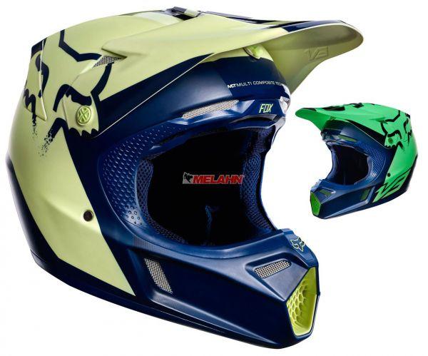 FOX Helm: V3 Libra Foxborough Limited Edition, navy/gelb, fluoreszierend