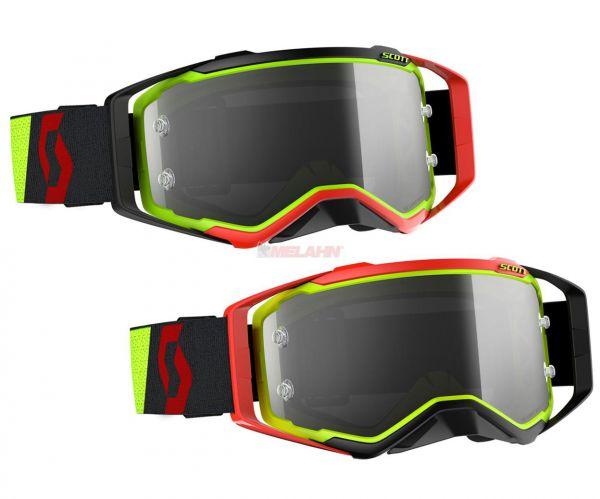 SCOTT Prospect LS Goggle Motocross MTB MX Cross Brille, gelb/rot/schwarz, selbsttönend