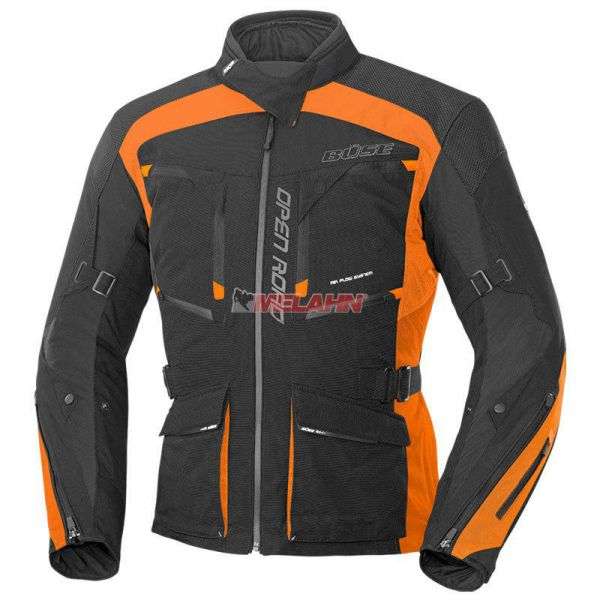 BÜSE Jacke: Open Road Evo, schwarz/orange