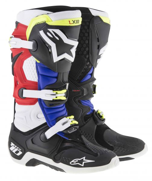 ALPINESTARS Stiefel: Tech 10 Justin Barcia Limited Edition. schwarz/weiß/rot/blau