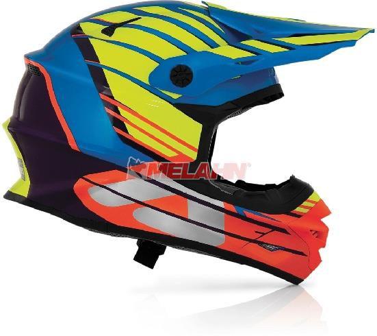 ACERBIS Helm: X-Pro,, orange/blau/gelb