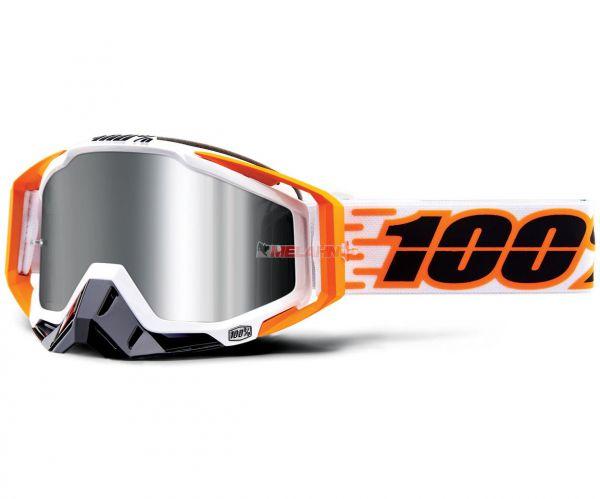 100% Racecraft Plus Illumina Goggle Motocross MTB MX Enduro Cross Brille, weiß/orange (verspiegelt)