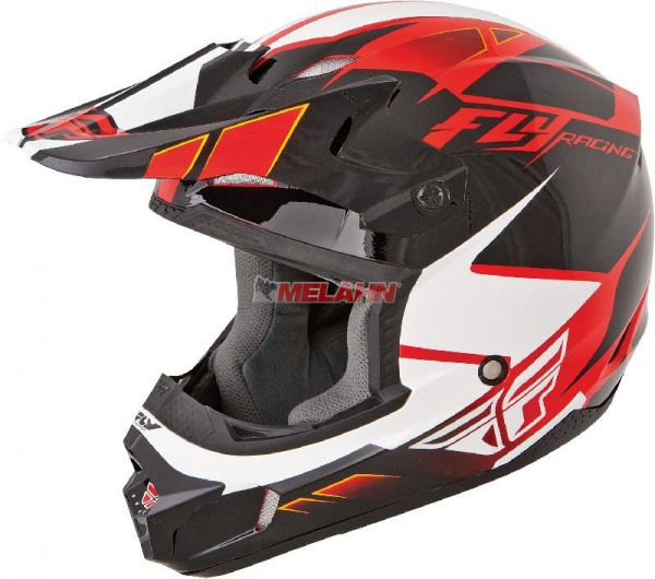 FLY Helm: Kinetic Impulse, rot/schwarz/weiß