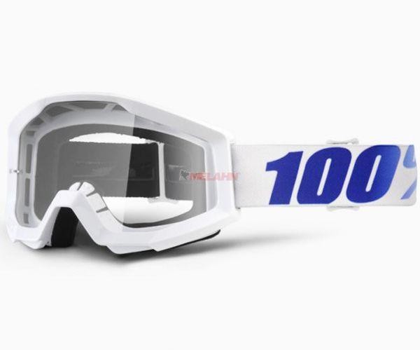 100% Strata Equinox Goggle Motocross MTB MX Enduro Cross Brille, klares Glas, weiß/blau