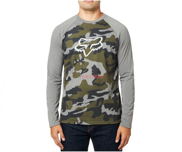 FOX Langarmshirt: Tournament Tech, camo/grau