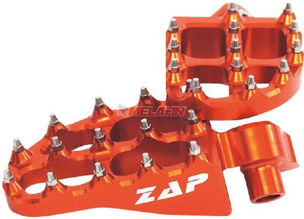 ZAP E-Peg Aluminium-Fußrasten (Paar), KTM, HVA, HUSABERG, orange