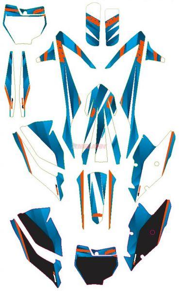 KTM Graphic-Kit: Style blau, SX 16-18