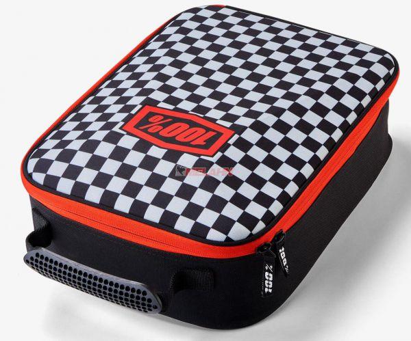100% Brillentasche, Checkers schwarz/rot/weiß