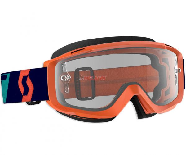 SCOTT Split OTG Goggle Motocross MTB MX Cross Brille, für Brillenträger, orange, klares Glas