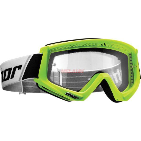 THOR Combat Solid Goggle Motocross MTB MX Enduro Cross Brille, klares Glas, neon-grün