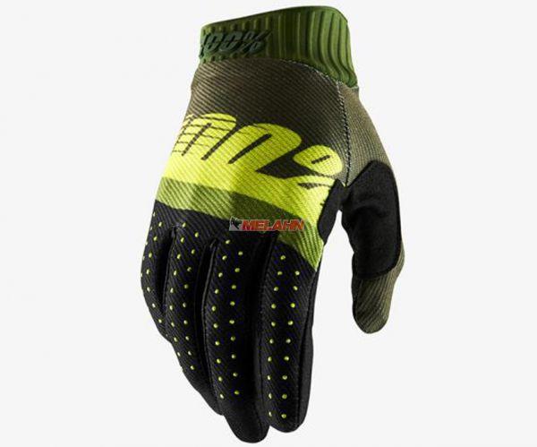 100% Handschuh: Ridefit, army green/neongelb