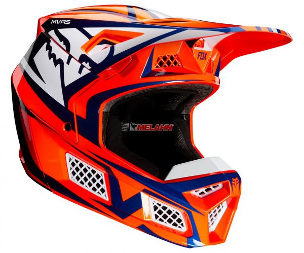 FOX Helm: V3 Idol, orange/blau