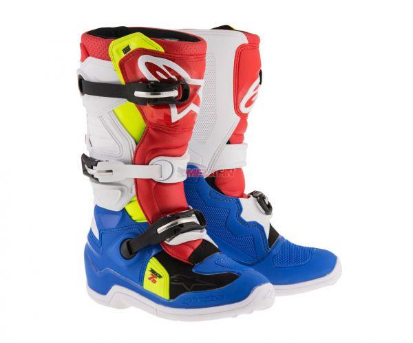 ALPINESTARS Kids Stiefel: Tech 7S, rot/blau/gelb/weiß