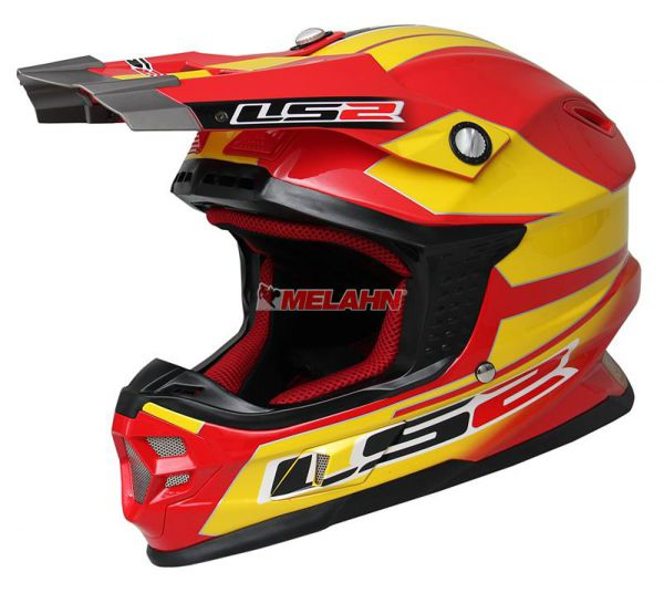 LS2 Helm: MX 456, rot/gelb