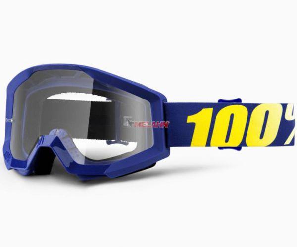 100% Strata Hope Goggle Motocross MTB MX Enduro Cross Brille, klares Glas, blau
