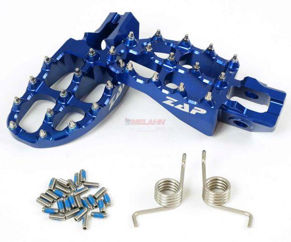 ZAP E-Peg Aluminium-Fußrasten (Paar), KTM SX 16- / EXC 17-, blau